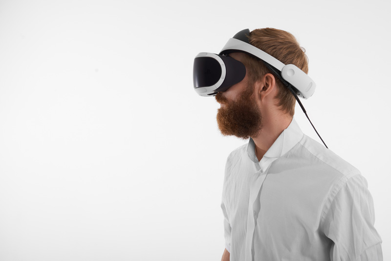 Someone wearing an headset for virtual reality