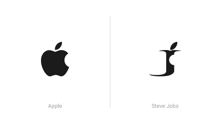 Logo di Apple e logo Steve Jobs
