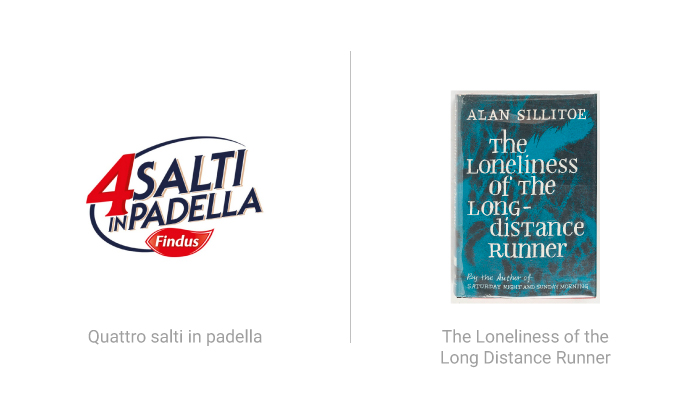Logo di Quattro salti in padella e copertina del libro The Loneliness of the long distance runner